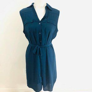New York & Company Sz L Dress Blue Sheer Collared